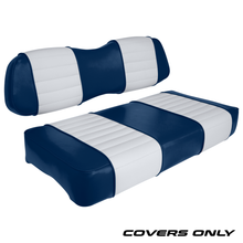 Club Car DS Series Golf Cart Seat Cover Set Premium Designer Sewn - Blue / White