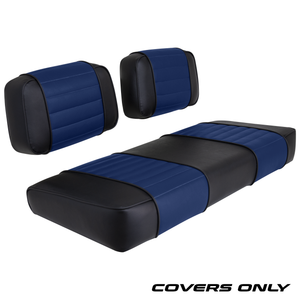 Club Car DS 79-99 Series Golf Cart Seat Cover Set Premium Designer Sewn - Black / Blue