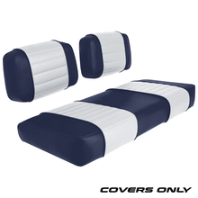 Club Car DS 79-99 Series Golf Cart Seat Cover Set Premium Designer Sewn - Navy / White