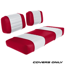 Club Car DS 79-99 Series Golf Cart Seat Cover Set Premium Designer Sewn - Red / White