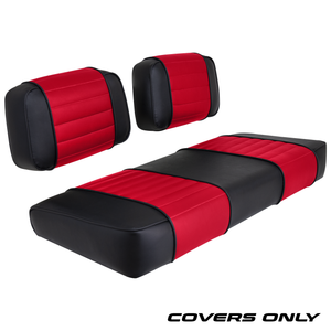 Club Car DS 79-99 Series Golf Cart Seat Cover Set Premium Designer Sewn - Black / Red