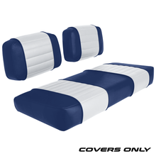 Club Car DS 79-99 Series Golf Cart Seat Cover Set Premium Designer Sewn - Blue / White