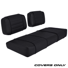 Club Car DS 79-99 Series Golf Cart Seat Cover Set Premium Designer Sewn - Solid Black