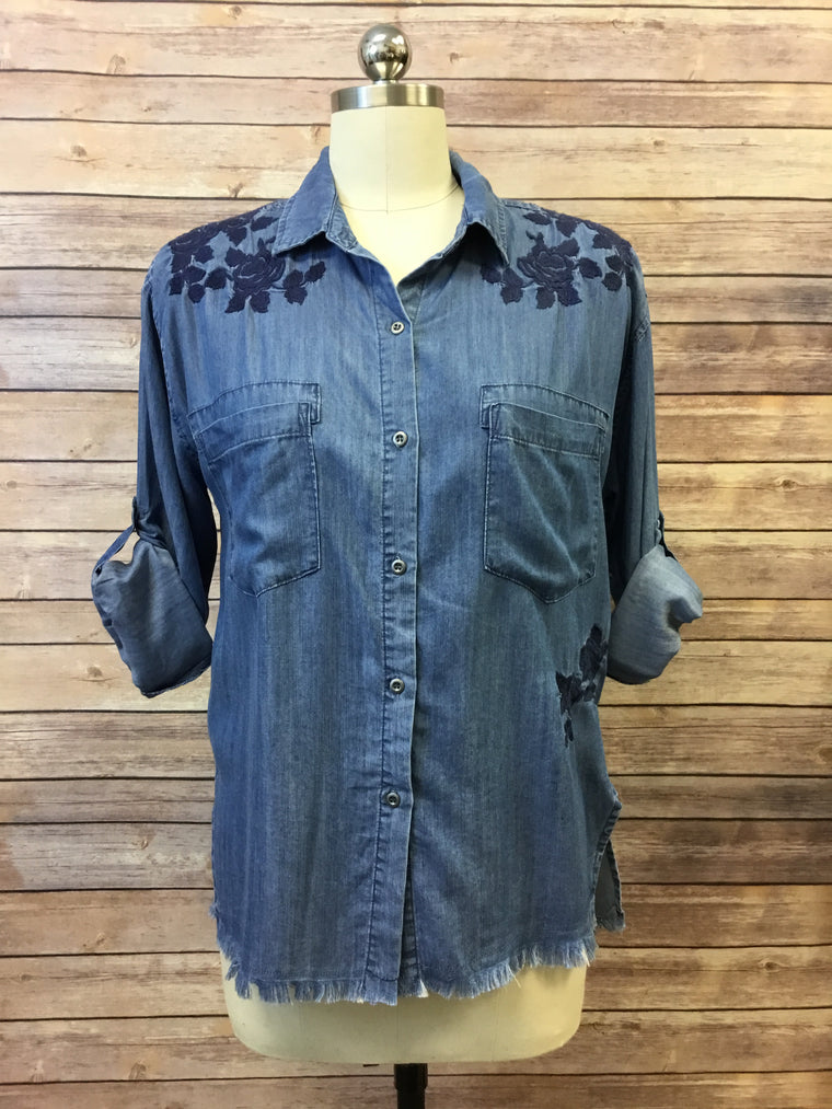 Blue Rose Embroidered Button Down