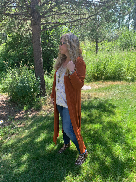 Long Cardi- Rust or Blush