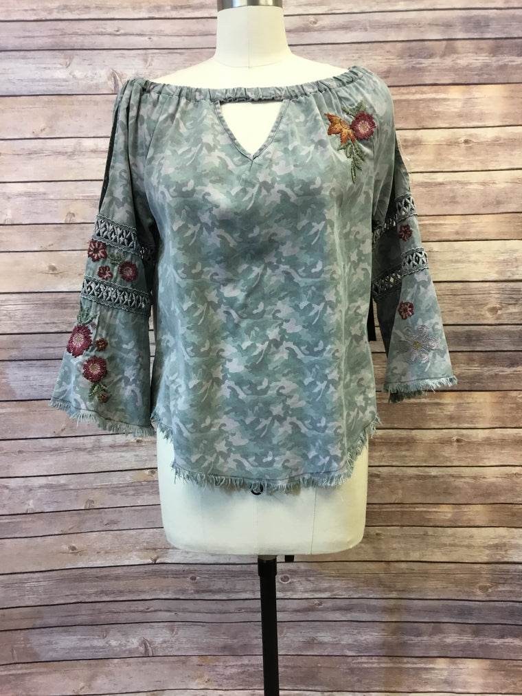 Camo Tencel top