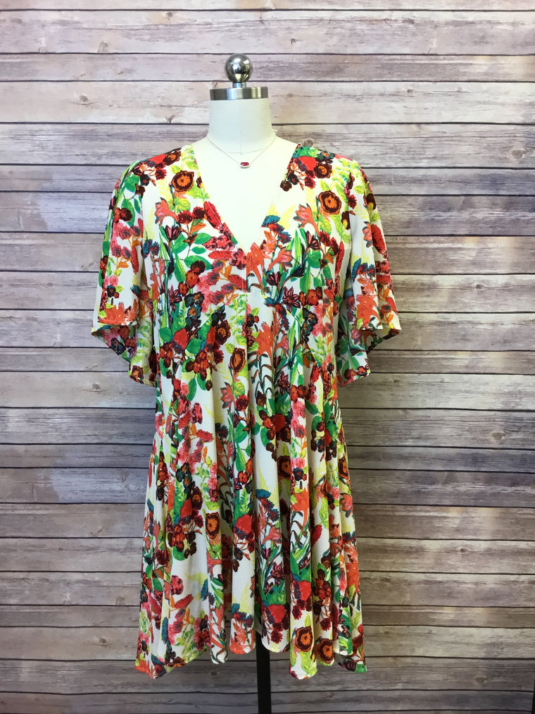 Botanical Dress with Flutter Slv