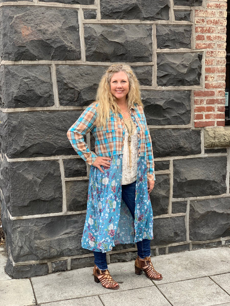 Plaid and Floral Skirted Top