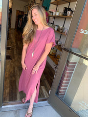 Rolled Sleeve Maxi Dress with Pockets