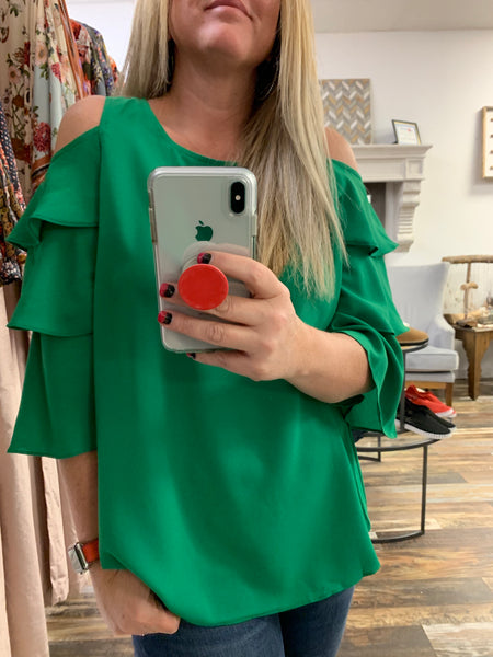 Open Shoulder Tier Sleeve Blouse in Grass