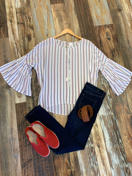 Stripe Bell Ruffle Sleeve Top