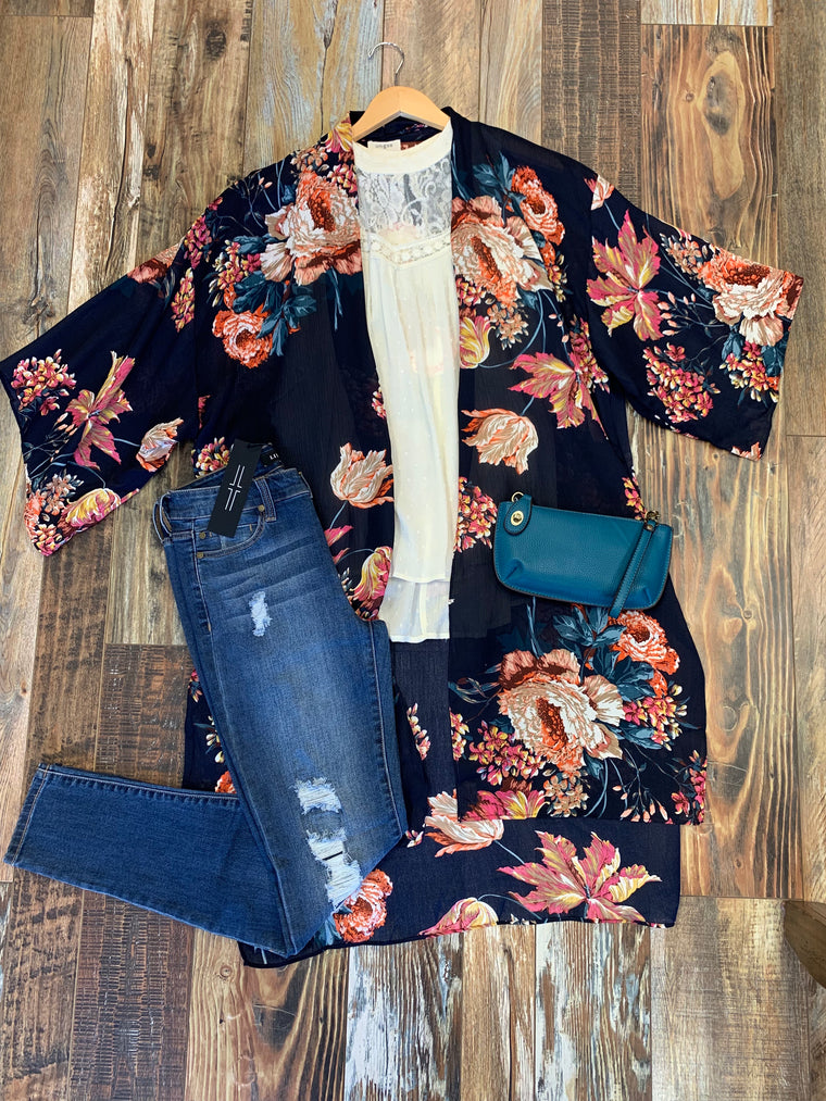 Floral Cocoon Kimono in Navy Mix