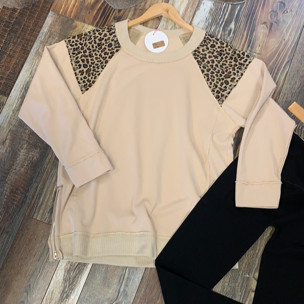 Leopard Accent Sweatshirt
