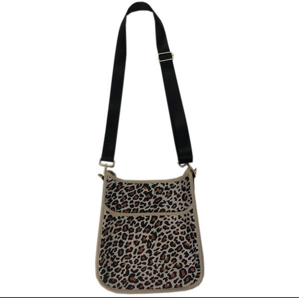 A. Large Cheetah Neoprene Messenger Bag with Strap