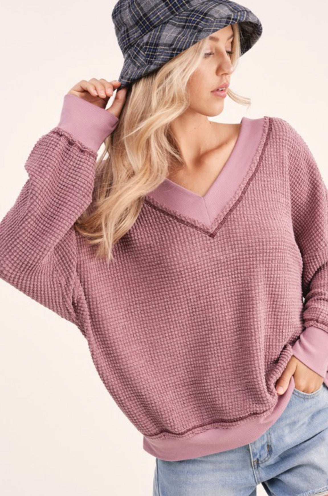 Double V Waffle Weave Top