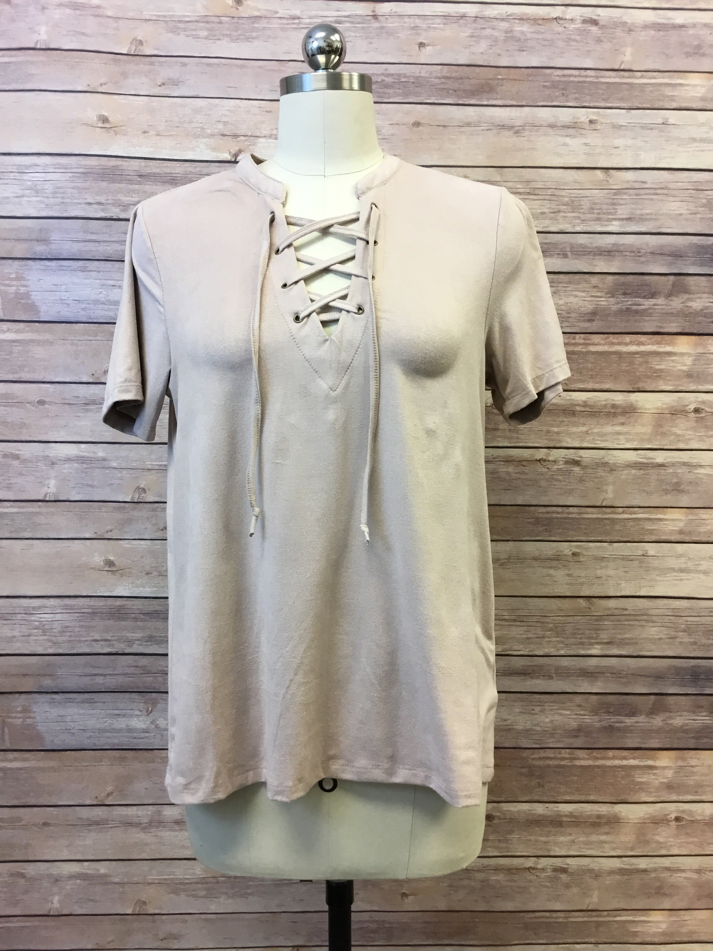 Suede Lace Up Top