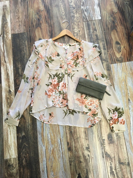 Floral Ruffle Collar Blouse