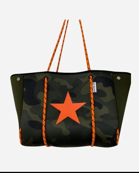 A. Army Camo Neoprene Tote with Coin Purse
