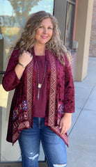 Berry Embroidered Cardigan