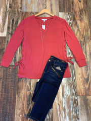 Tie Side Coral Sweater
