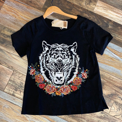 Tiger Floral Embroidered Tee