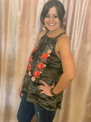 Camo Sleeveless Top with Embroidery