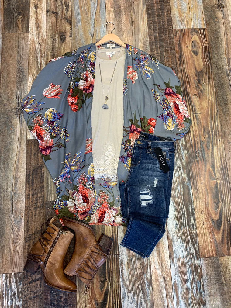 Floral Cocoon Kimono in Grey