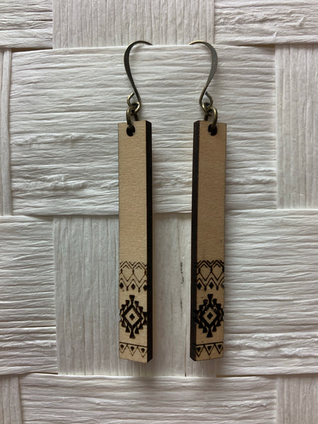 "Earrings- Stick Aztec, 2 1/4"" drop"
