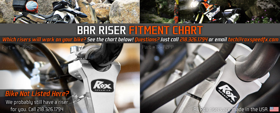 Bar Risers for your BMW, KTM, HONDA, YAMAHA, HARLEY, or TRIUMPH MOTRORCYCLE! See the chart below!
