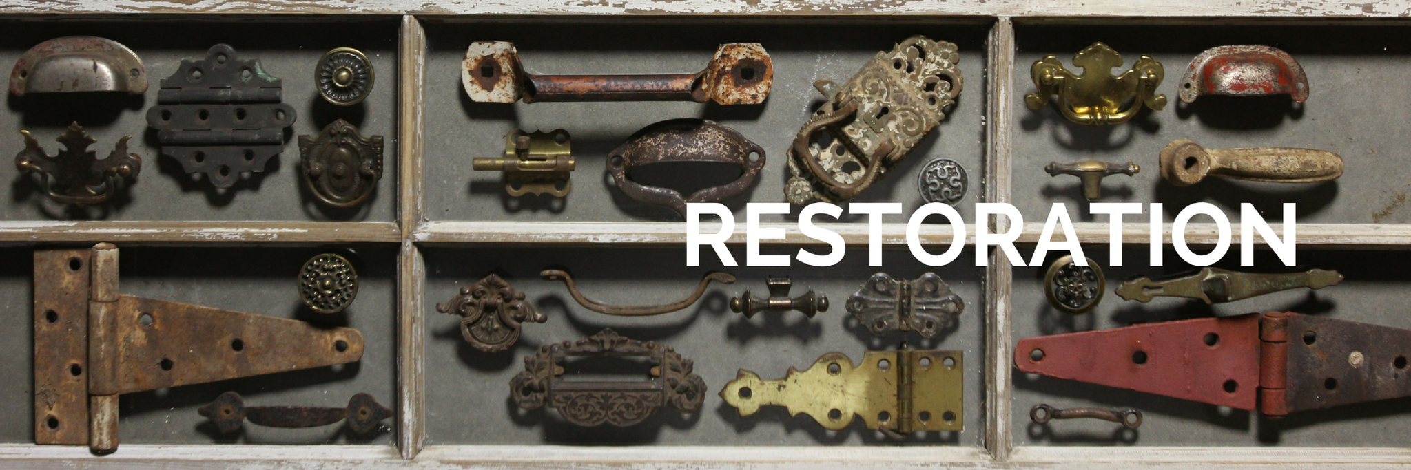 Collection of vintage and antique items used for home and building restoration