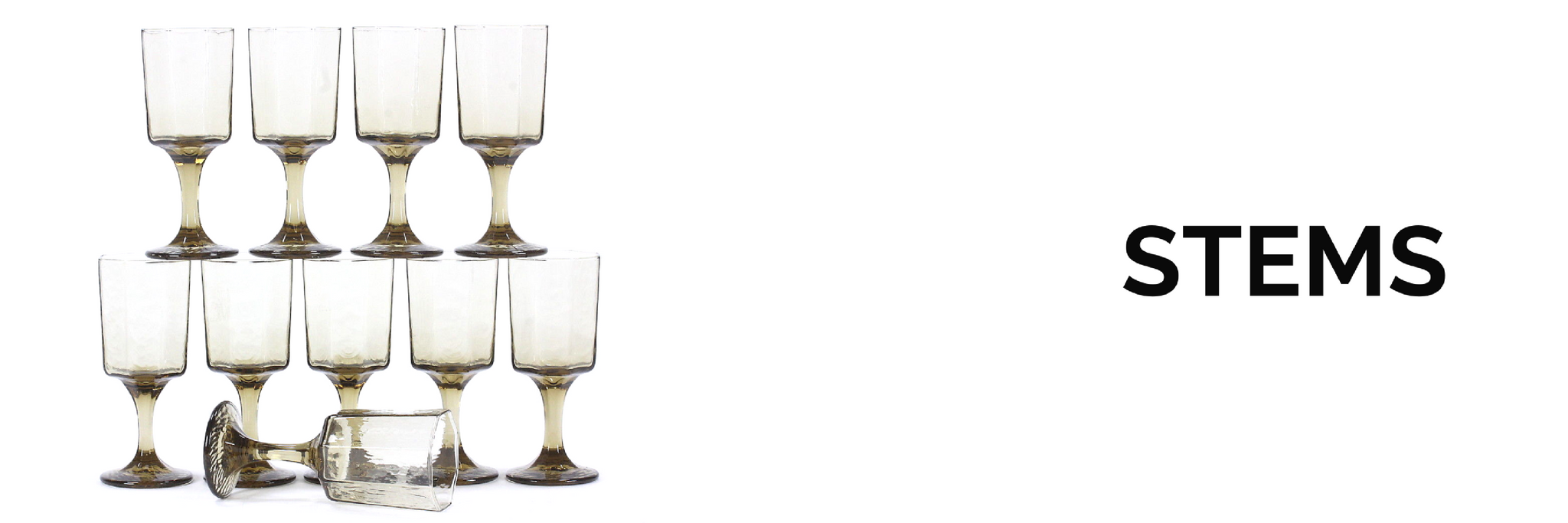 Collection of vintage and antique barware, specifically glasses with stem or stemware for sale