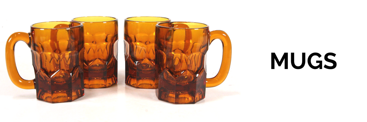 Collection of vintage and antique mugs in ceramic, glass, porcelain, and others for sale