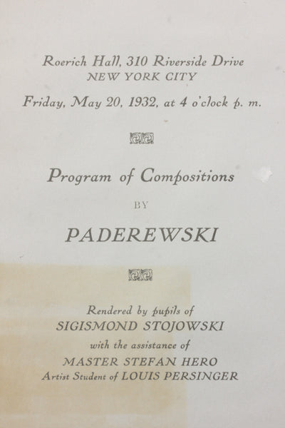 Program from a recital where Titcomb performed