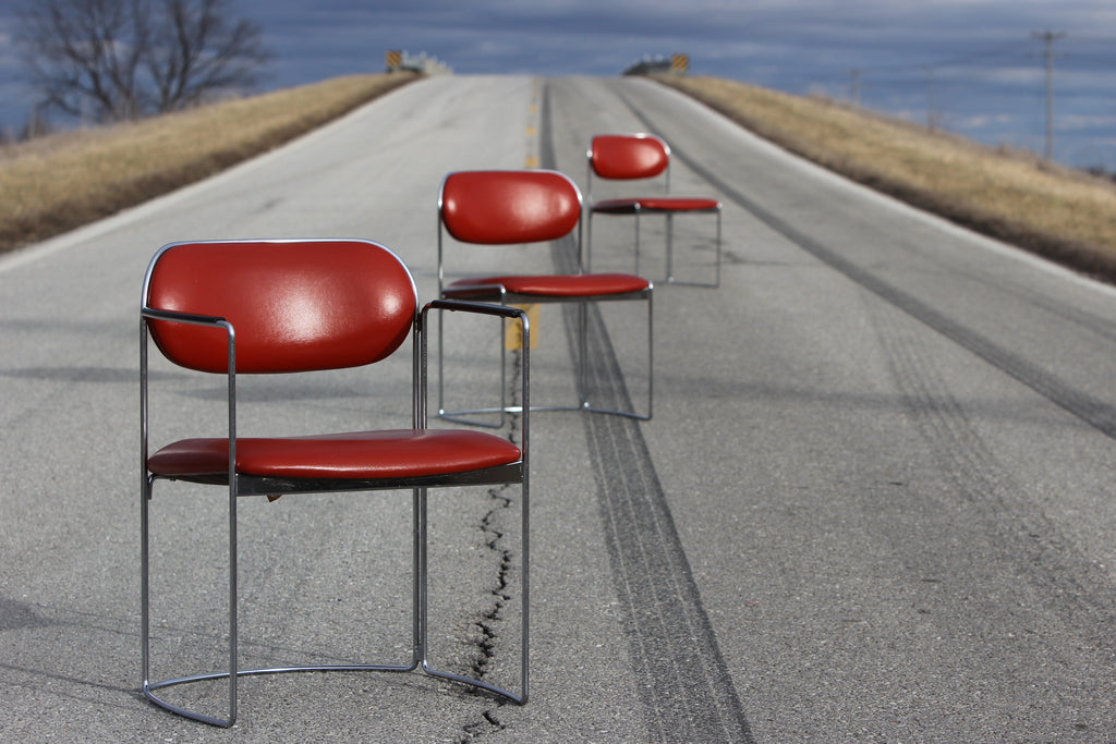 Mid Century Modern Red Vinyl and Chrome Chairs