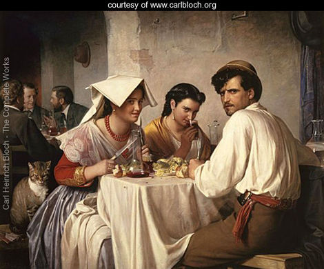 The original In a Roman Osteria painting by Carl Heinrich Bloch