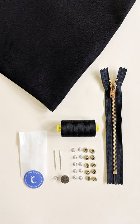 Ellis Skirt Bundle: True Black Cone Mills Denim Kit