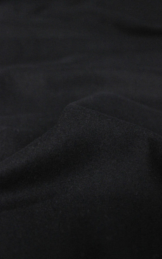 Black Melton Wool — 1/4 yard