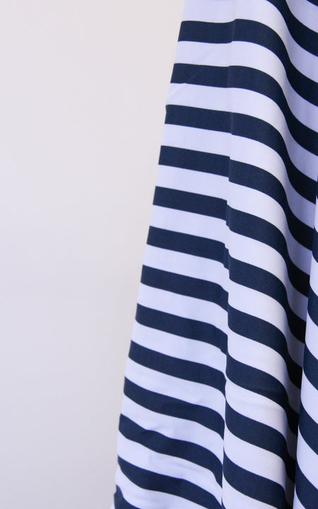 Pre-Cut Navy & White Stripe Swim Fabric, Various Lengths