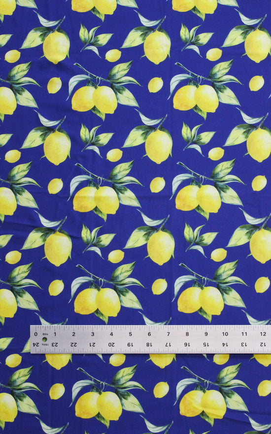 Pre-Cut Lemon Print Swim Fabric, 3/4 yd