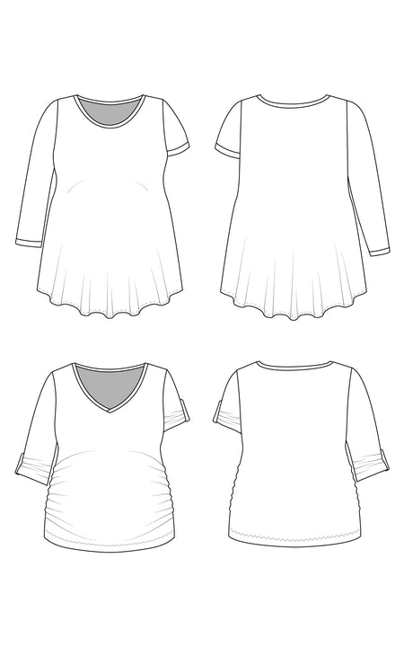 Brookline Maternity T-Shirt PDF pattern