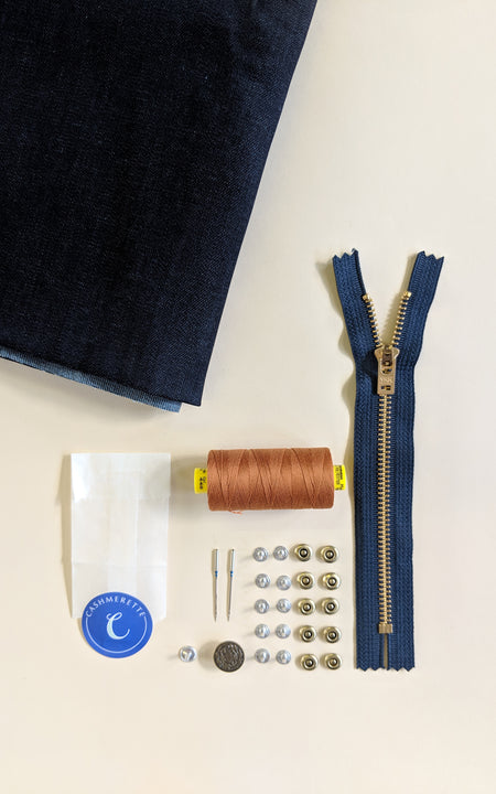 Ellis Skirt Bundle: Dark Indigo Cone Mills Denim Kit