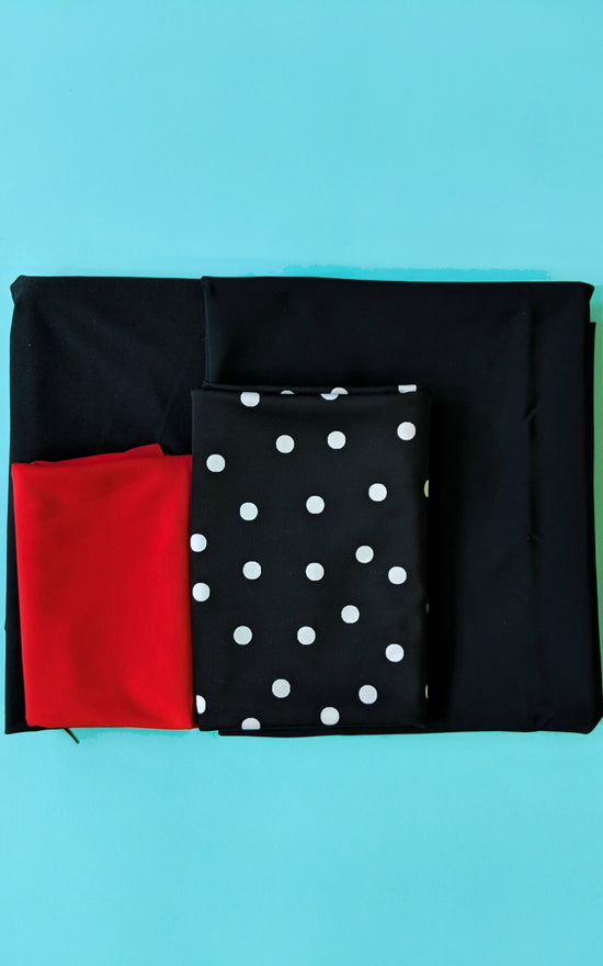 Ipswich Swimsuit Bundle: Black Polka Dot Fabric & Notions Kit
