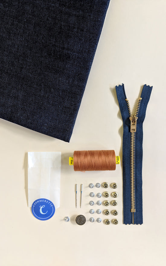 Ellis Skirt Bundle: Mid Indigo Cone Mills Denim Kit