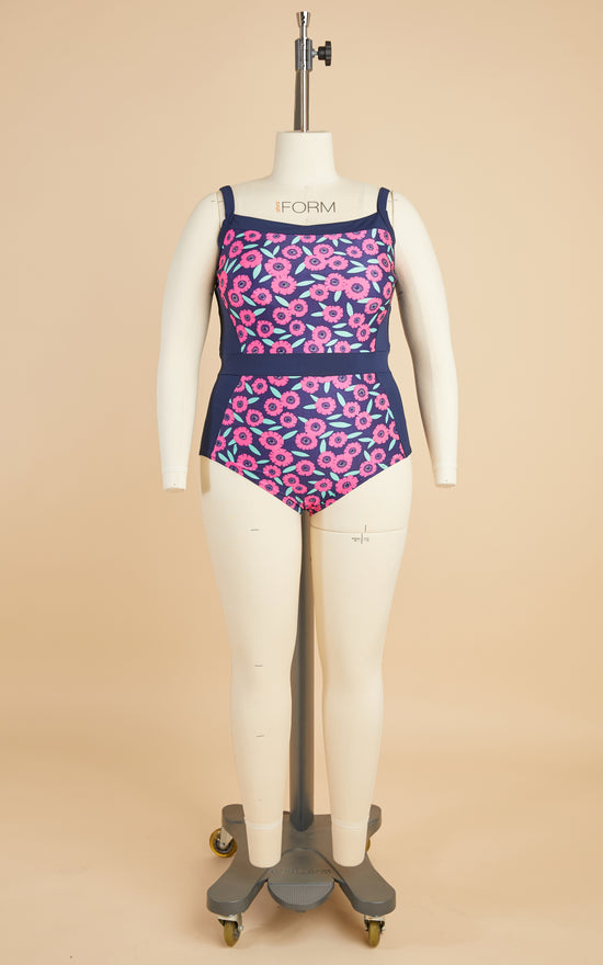 Ipswich Swimsuit Bundle: Navy Floral Fabric & Notions Kit