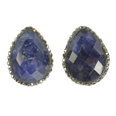 Designs by Eric Blue Quartz Swarovski Earrings