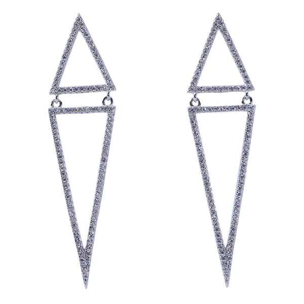 Designs by Eric Two Piece Triangle and CZ Earrings - The Passionate Collector