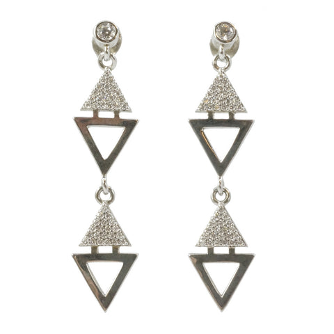 Designs by Eric Geometric Dangle CZ Earrings