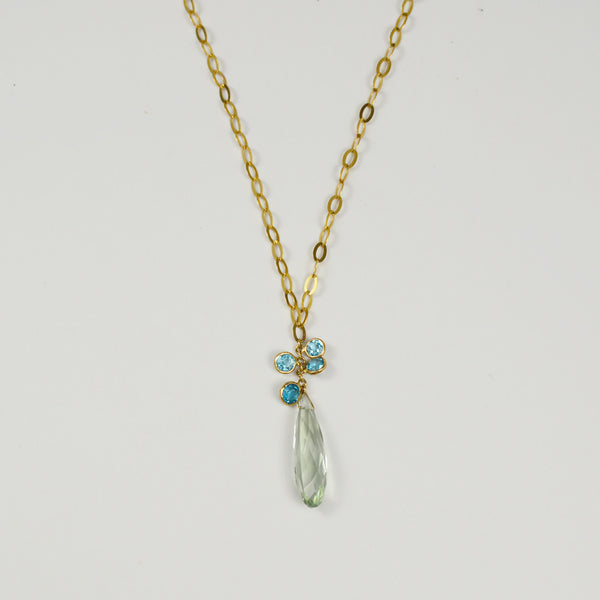 Lemon Quartz and Peridot Pendant Necklace