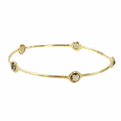 14K Gold Bangle with Five Smoky Topaz Stones - The Passionate Collector