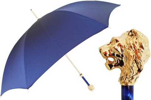 Pasotti BLUE UMBRELLA WITH GOLD LION HANDLE